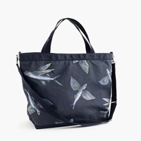J.Crew Cotton Canvas Tote Bag In Flying Fish Print Navy