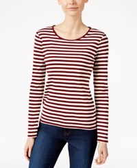 Charter Club Long Sleeve Striped Top Only At Macy's Cranberry Red Combo