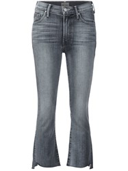 Mother Cropped Flared Jeans Black