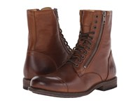 Frye Tyler Double Zip Cognac Soft Vintage Leather Men's Lace Up Boots Brown