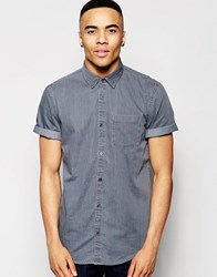 New Look Shirt With Short Sleeves In Grey Denim In Regular Fit Grey