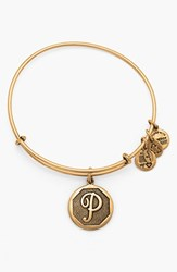 Women's Alex And Ani 'Initial' Adjustable Wire Bangle P Russian Gold