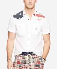 Denim And Supply Ralph Lauren Men's American Flag Yoke Western Shirt White