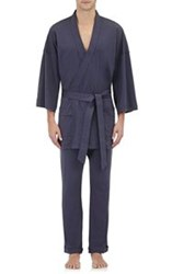 Barneys New York Men's Jersey Short Robe Blue