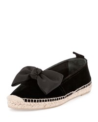 Saint Laurent Velvet Bow Espadrille Flat Black