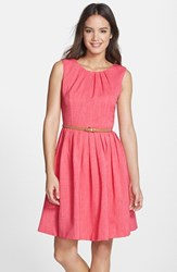 Petite Women's Ellen Tracy 'Kenya' Belted Pleated Cotton Fit And Flare Dress
