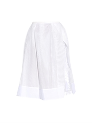 Muveil Pleated Organza Panel And Grid Mesh Skirt