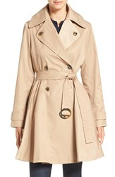 Zzdnu Cece Women's 'Sarah' Belted Skirted Double Breasted Trench Tan
