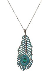 Kenneth Jay Lane Jeweled Peacock Feather Pendant Necklace Multicolor