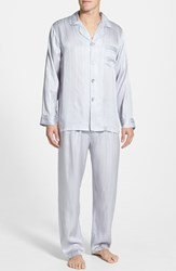 Men's Majestic International Herringbone Stripe Silk Pajamas Silver