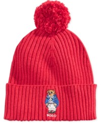 Polo Ralph Lauren Men's Ski Bear Pom Pom Hat Tudor Red Ski Bear
