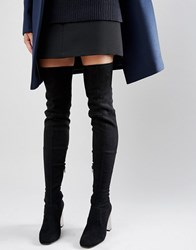 Asos Kalida Clear Heel Over The Knee Boots Black