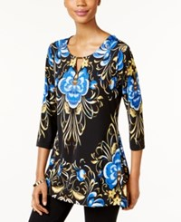 Jm Collection Printed Hardware Top Only At Macy's Folk Beauty Blue