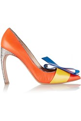 Nicholas Kirkwood Roksanda Ilincic Bow Embellished Leather Pumps Orange