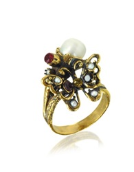 Alcozer And J Golden Brass Gemstones And Glass Pearl Butterfly Ring