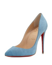 Christian Louboutin Pigalle Follies Suede Red Sole Pump Celeste Blue