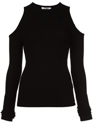 Getting Back To Square One Cold Shoulder Top Black