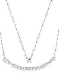 Swarovski Rhodium Plated Double Chain Necklace Silver