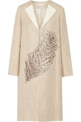 Tory Burch Ange Embellished Linen And Cotton Blend Coat White