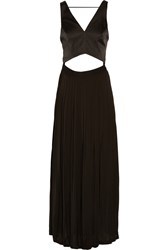 Sandro Convertible Satin And Crepe De Chine Gown Black
