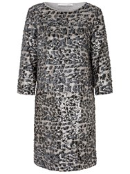 Oui Animal Sequin Dress Off White Grey