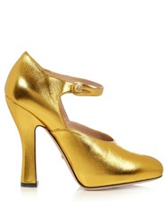 Gucci Lesley Leather Pumps Gold