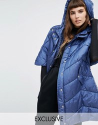 Puffa Oversized Cape Jacket With Padded Collar And Hood Navy