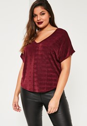 Missguided Plus Size Burgundy Slinky V Neck Top