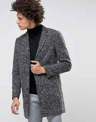 Selected Homme Wool Overcoat With Flecked Detail Salt Pepper Grey