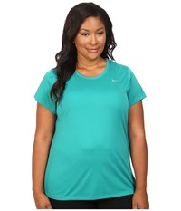 Nike Miler Short Sleeve Running Top Size 1X 3X Teal Charge Women's T Shirt Blue