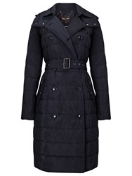 Phase Eight Emmalee Double Trench Quilted Coat Navy