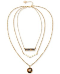 Guess Gold Tone Faux Tortoiseshell Triple Layer Pendant Necklace