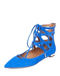 Aquazzura Belgravia Caged Suede Lace Up Flat Royal Blue