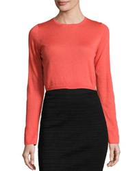 Todd And Duncan Cashmere Long Sleeve Crop Top Geranium