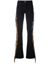 Don't Cry Fringed Side Flared Jeans Black