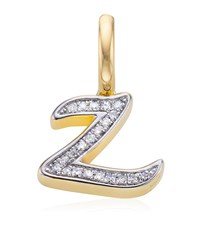 Monica Vinader Gold Plated Diamond Z Pendant Female