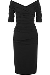 Dolce And Gabbana Ruched Off The Shoulder Wool Blend Crepe Midi Dress Black