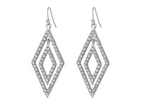 Guess Double Geometric Drops On Wire Earrings Silver Crystal Earring