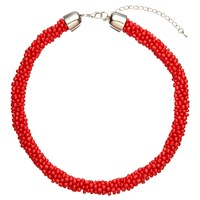 John Lewis Twisted Bead Necklace Red