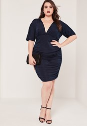 Missguided Plus Size Ruched Slinky Midi Dress Navy