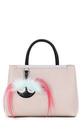 Fendi 'Petite 2Jours' Bicolor Leather Shopper With Genuine Fox And Kidassia Fur Monster Charm