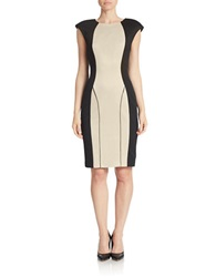 Alexia Admor Colorblocked Sheath Dress Champagne Black