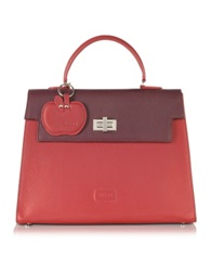 Buti Color Block Embossed Leather Satchel Bag Red