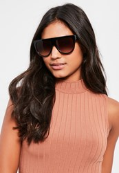 Missguided Brown Leopard Print Flat Top Sunglasses