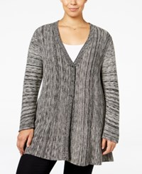 Styleandco. Style Co. Plus Size Space Dyed Flared Cardigan Only At Macy's Deep Black Combo