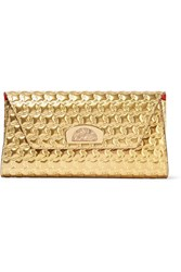 Christian Louboutin Vero Dodat Metallic Embossed Leather Clutch Gold