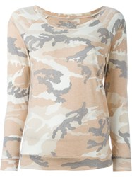 Majestic Filatures Camouflage Print Sweatshirt Nude And Neutrals