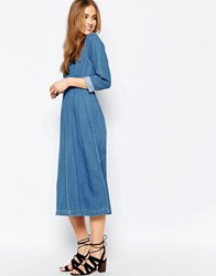 Warehouse Denim Midi Dress Light Wash