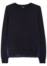 Clu Navy Plisse Back Cotton Sweatshirt