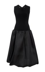 Oscar De La Renta Cross Back Dress Black